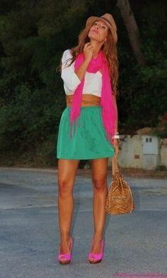 me encanta la combinación verde y rosa