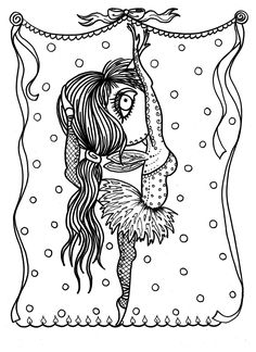 5 Pages Downloadable Coloring Book Funky Fairy Ballerinas Adult Digital Dance Digi Stamp