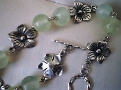 Solid Antiqued Sterling Silver Plum Flower and Natural Jade Necklace  | ZPG - Jewelry on ArtFire