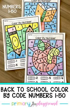 These color by code number pages are a fun and engaging way to practice numbers 1-50.. They work great as morning work, small groups, individual work, centers, and homework. #preschool #kindergarten #backtoschool #colorbycode #numbers
