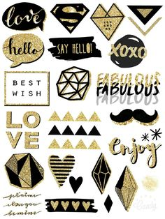 Free Printable Black and Gold Stickers