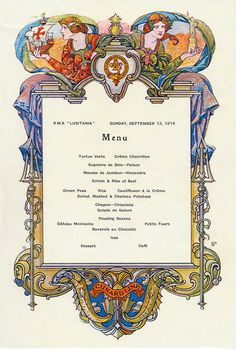 First-class dinner menu.
