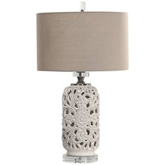 Buy the Uttermost 27838 Glazed White Direct. Shop for the Uttermost 27838 Glazed White Dahlina Single Light Tall Accent Table Lamp and save. Metal Table Lamps, Ceramic Table Lamps, Tall Accent Table, Black Diamond Earrings, Diamond Anniversary, Drum Shade, Traditional Design, Bulb, Ceramics