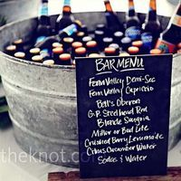 Beer bucket and chalkboard menu. Go-to favorites. #party #wedding #event