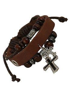 Brown Cross Pendant Leather Bracelet Pack