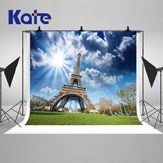 Sunny Eiffel Tower Paris Photography Backdrops Blue Sky White
