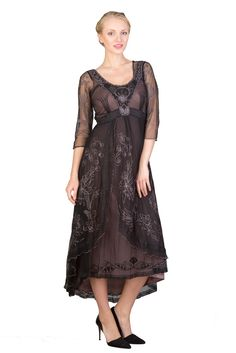 1920s Plus Size Dresses Downton Abbey Tea Party Gown in BlackCoco by Nataya  $250.00 AT vintagedancer.com