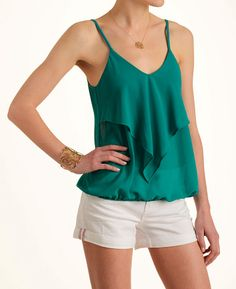Veronica M Tiered Solid Blouson Tank Top