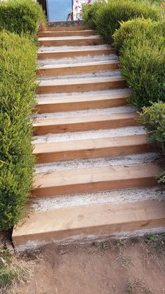 Renovate an exterior staircase in railway sleepers – Backyard staircase wood terrace with lag bolts for fixing the steps in sleepers Landscape Stairs, Landscape Design, Garden Design, Hillside Landscaping, Outdoor Landscaping, Railway Sleepers, Outdoor Steps, Sloped Backyard, Garden Stairs