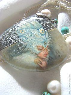 """Купить кулон """"Снежная Птица"""" - серебряный, агат с друзой, агат натуральный, загадочная девушка, снежная"""