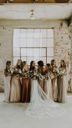 Fall Bridesmaid Dresses, Wedding Dresses, Boho Lace Wedding Dress, Bride And Bridesmaid Pictures, Different Bridesmaid Dresses, Rustic Bohemian Wedding, Fall Wedding Bridesmaids, Bohemian Bridesmaid, Bohemian Weddings