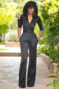 Black Diamond Print Jumpsuit by Look Fashion, Autumn Fashion, Fashion Outfits, Womens Fashion, Fashion Flats, Fashion Games, Fashion Dolls, Fashion Design, Overall Jumpsuit