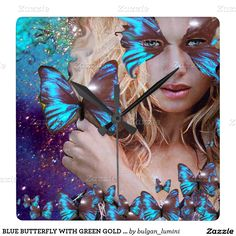 BLUE BUTTERFLY WITH GREEN GOLD SPARKLES SQUARE WALL CLOCK