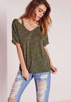 Missguided - Strappy Neck T Shirt Khaki