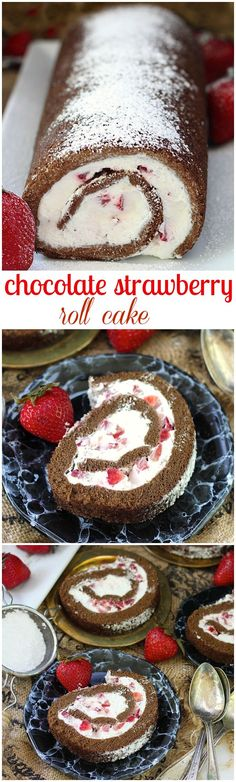 Chocolate strawberry roll cake – Chocolate sponge cake filled with lighter than air cream and diced fresh strawberries.
