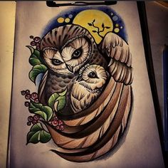 Ideas Drawing Animals Owl Tattoos For 2019 Baby Owl Tattoos, Cute Owl Tattoo, Animal Tattoos, Tattoo Owl, Owl Tattoo Drawings, Tattoo Artwork, Animal Drawings, Drawing Animals, Family Tattoos For Girls