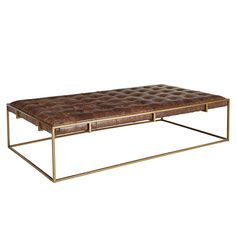 Square Tufted Leather Coffee Table Ottoman with Aged Brass Finished ...