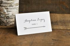 Place Card with Guest Name  Arrows of Love by PaperandPinafore, $1.00