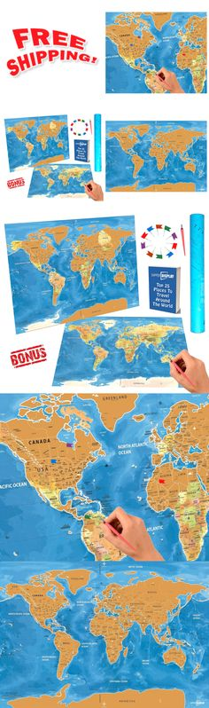 Other travel maps 164807 scratch off world map travel tracker other travel maps 164807 scratch off world map travel tracker poster with us states and country flags buy it now only 3332 on ebay gumiabroncs Image collections
