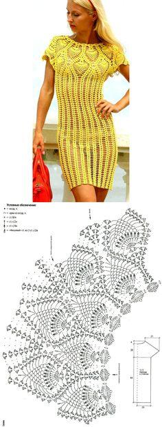 Pinas amarillas Crochet pineapple diagram