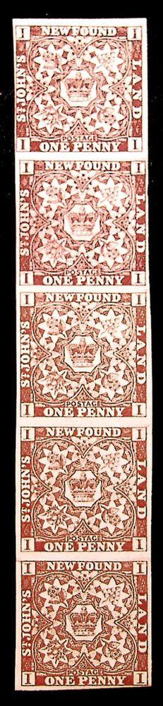 Newfoundland #1 1p Br Violet 1857  XF *MNH* Strip of 5 Scarce Show Piece - Classic Stamp Sale