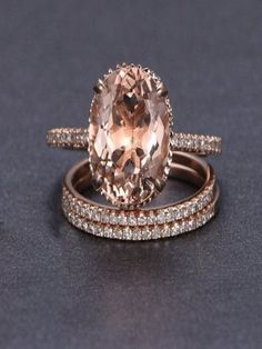 A perfect handmade 2 carat Morganite and Diamond Trio Engagement Ring Set in 10k Rose Gold for Women. The perfect trio wedding ring set showcases main Engagement Ring and 2 matching wedding ring bands.The beautiful women's engagement ring is a perfect designer gemstone ring, handmade and customized to perfection.