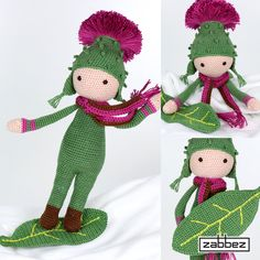 Flower doll Thistle Tim is leaf boarding in the snow - crochet patterns by Zabbez