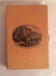 Details about  Mauchline Ware Sewing / Needle Case. South Stacks Rocks & Lighthouse, Holyhead