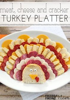 Thanksgiving appetizers aren't usually the talk of the table, but that's about to change with this cute little guy. Impress your family and friends with this meat, cheese, and cracker turkey platter. This easy appetizer will be gobbled up in no time.