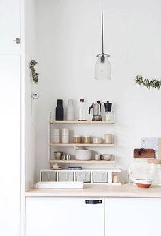 add shelves for chic, kitchen essentials