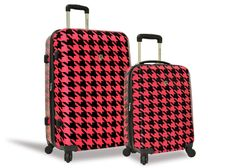 2-Piece Houndstooth Expandable Luggage Set