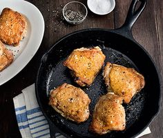 3-ingredient Perfect Pan-Roasted Chicken Thighs - Sophisticated enough for a Sunday supper yet quick enough for Wednesday's dinner, this master recipe is all in the technique. Cook the thighs skin side down in a cast-iron skillet (use grapeseed oil) to render out the fat and make the skin as crisp and delicious as bacon.