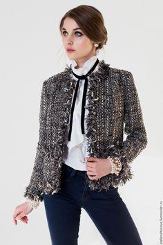Купить Твидовый жакет ручной работы №4 - черный, однотонный, твидовый костюм…
