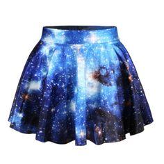 *free ship* dark blue galaxy print pleated mini