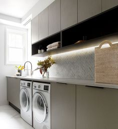The Block 2018 Kerrie and Spence Apartment 1 Laundry featuring Caesarstone® Airy Concrete™. Modern Laundry Rooms, Laundry Room Layouts, Laundry Room Cabinets, Laundry Room Organization, Laundry In Bathroom, Small Laundry, Laundry Closet, Cupboards, Interior Design Living Room