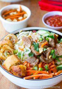 Fresh and crunchy Vietnamese Bun Cha Gio Salad Bowl, my all-time favorite classic Vietnamese dish. This healthy dish is loaded with noodles, vegetables and