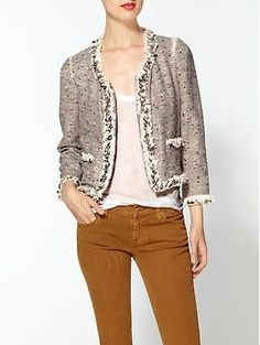 Rebecca Taylor Metallic Tweed Jacket - the sequence sewn around this coco inspired jacket is a great twist on the classic. Bling is always good on classics.