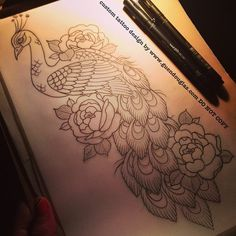 Love the idea of a Peacock and peonies. I need to get my own custom design done now! Design by Guen Douglas. Future Tattoos, Love Tattoos, Beautiful Tattoos, Body Art Tattoos, Tattoo Drawings, New Tattoos, Tattoos For Women, Pfau Tattoo, Tattoo Feminin