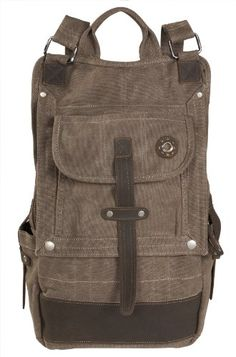 YG 16 oz Canvas Backpack Urban Street Design wLeather Trim 0518 Lava Rock ** This is an Amazon Affiliate link. For more information, visit image link.