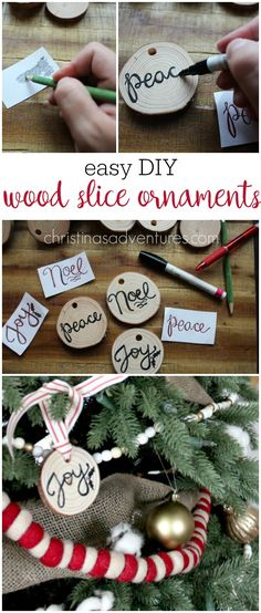 Wood Slice Ornaments EASY DIY wood slice ornaments - nice handwriting not required! These would make great gift tags too!EASY DIY wood slice ornaments - nice handwriting not required! These would make great gift tags too! Christmas Wood, Diy Christmas Ornaments, Homemade Christmas, Diy Christmas Gifts, Christmas Projects, Simple Christmas, Holiday Crafts, Christmas Decorations, Christmas Poems