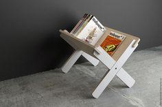 Купить Стеллаж для книг, журналов и пластинок - белый, Мебель, мебель из дерева, дизайн, дизайн интерьера