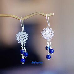 Dormeuses fil argent 925 perles lapis lazuli d'afghanistan