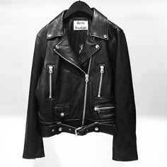 """""""A C N E  S T U D I O S. Mock leather biker jacket in store now.  #acnestudios"""""""