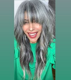 Gray Wigs African Americans Gray Wig With Black Roots Kids Snow White Wig Kids Snow White Wig Hairstyles With Bangs, Pretty Hairstyles, Grey Hair Don't Care, Gray Hair, Grey Hair Bangs, Daniel Golz, Grey Hair Looks, Grey Hair Inspiration, White Hair