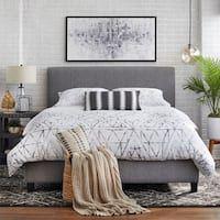 Shop Colette Platform Bed - On Sale - Overstock - 28165569 Grey Upholstered Bed, Grey Headboard, Grey Bedding, Luxury Bedding, Queen Bedding, Modern Bedding, Bedroom Furniture, Bedroom Decor, Furniture Deals