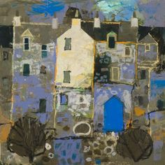 George Birrell - The Blue Door Futurism Art, Glasgow School Of Art, Urban Sketching, Art Sketchbook, Abstract Landscape, Painting Inspiration, Art Images, New Art, Painting & Drawing