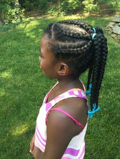 Beautiful cornrows and braids by The Fro Show with turquoise Sweet Pea GaBBY Bows!