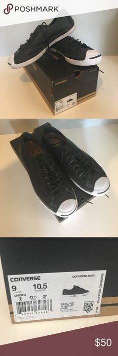 Converse Jack Purcells Converse 100% genuine black leather Jack Purcell shoes worn one time, men's size 9, women's 10.5 Shoes Sneakers
