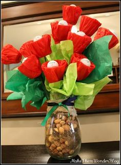 Faux Flowers Good for Guys and Golfers! -- Golf Ball Flowers by Dana Frieling for Make Them Wonder on Favecrafts.