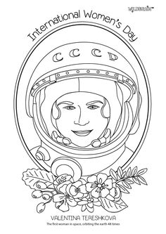 Valentina Tereshkova beat over 400 applicants to become the first woman in space. As well as orbiting the earth 48 times, she is a hero in her home country of Russia after working in politics in the USSR and post-Soviet Russia. #coloringsheets #IWD #girlsinSTEM Inspired by @alphamom